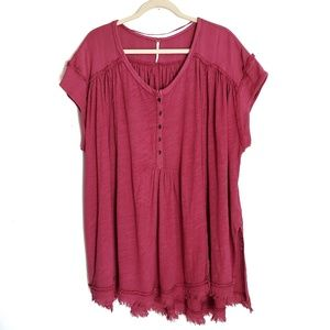 FREE PEOPLE Berry Aster Henley Top Size Medium